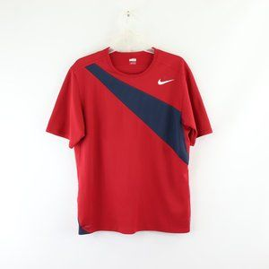 Men's Nike Red & Blue Striped Athletic Shirt